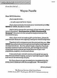 2009 HSUS Membership Renewal Letter   HumaneWatch